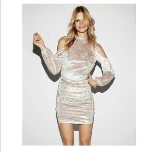 Express Crushed Velvet Cold Shoulder Ruched Dress